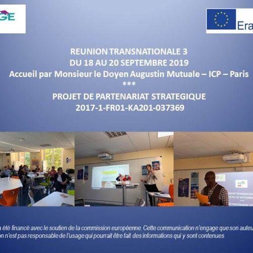 Réunion Transnationale du Projet ANGE, projet en partenariat avec Erasmus+
